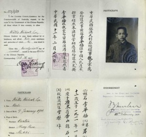Willie Wahlook Lee's Chinese student passport, 1923