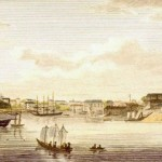 Engraving entitled 'Sydney, New South Wales, S. View', published in the Gentleman's Magazine in May 1824. It is based on a watercolour by Richard Read from about 1820. Australian National Maritime Museum Collection, 00000858.