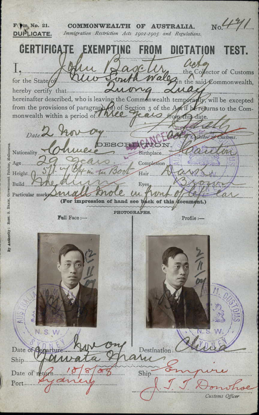 Quong Quay's Certificate Exempting from Dictation Test, 1907