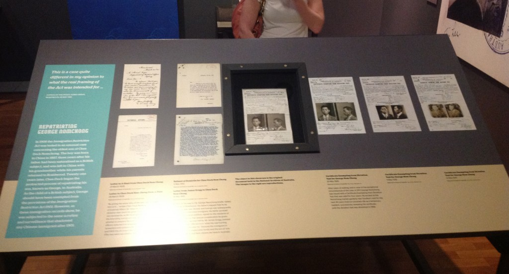 Photograph of a display of historical documents in a museum exhibition