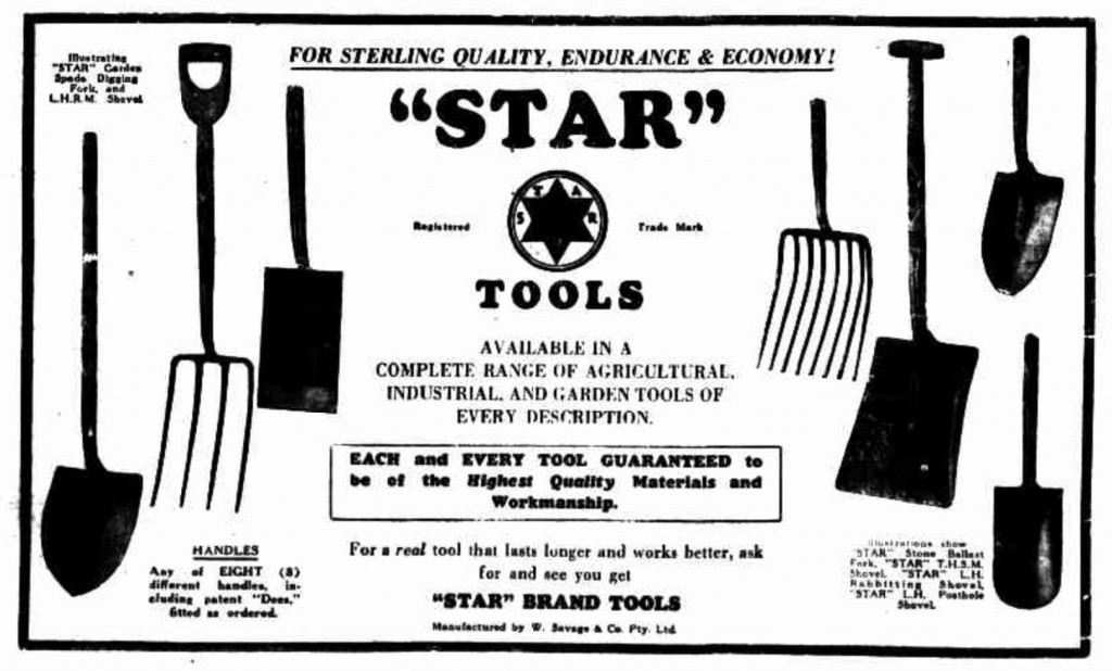 Black and white advertisement for tools with seven pictures of shovels and forks
