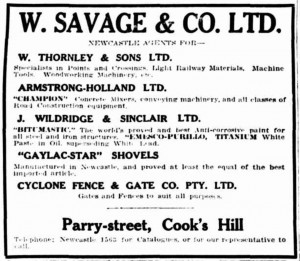 Black and white advertisement from a newspaper