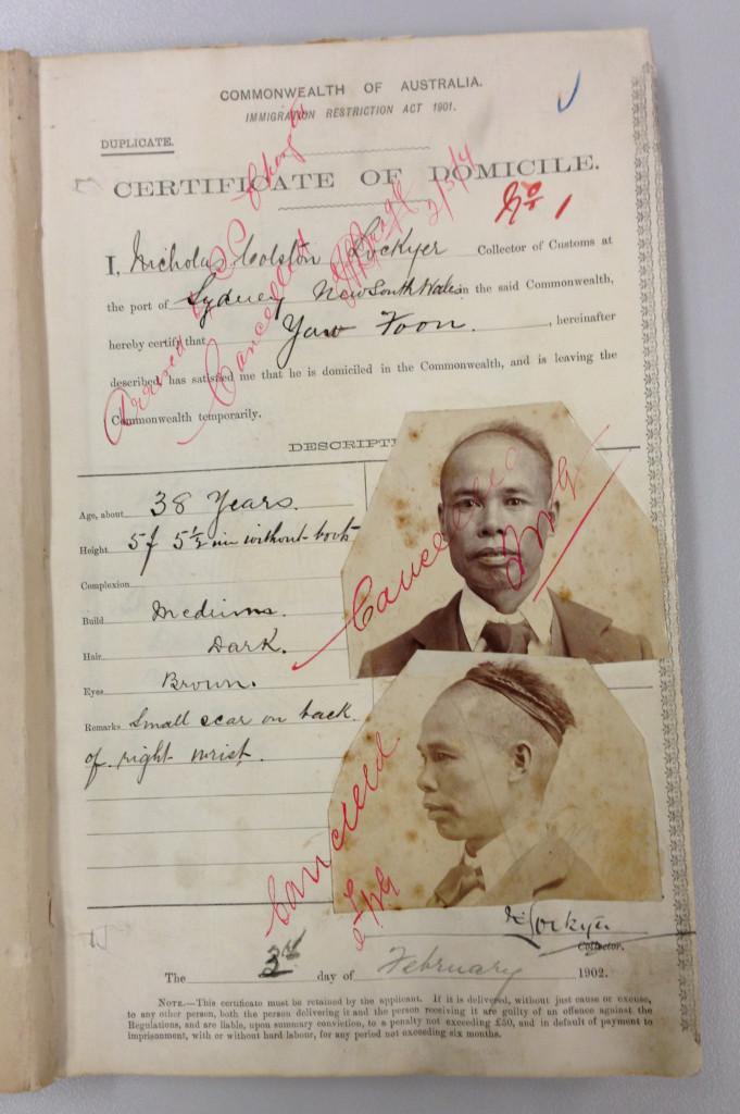 SP11/6, Box 3 - Yau Foon's Certificate of Domicile