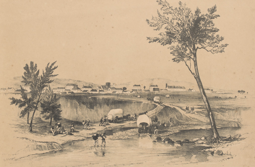 'In the background is seen part of the town of Bathurst, with the towers of the Protestant and Catholic Churches appearing beyond the plain; nearer, and crossing the bed of the Macquarie River, parties of eager pilgrims may be observed with their dray loads of tools and provisions, entering the town after their long and tedious journey across the mountain ranges.' (State Library of Victoria http://handle.slv.vic.gov.au/10381/136967)