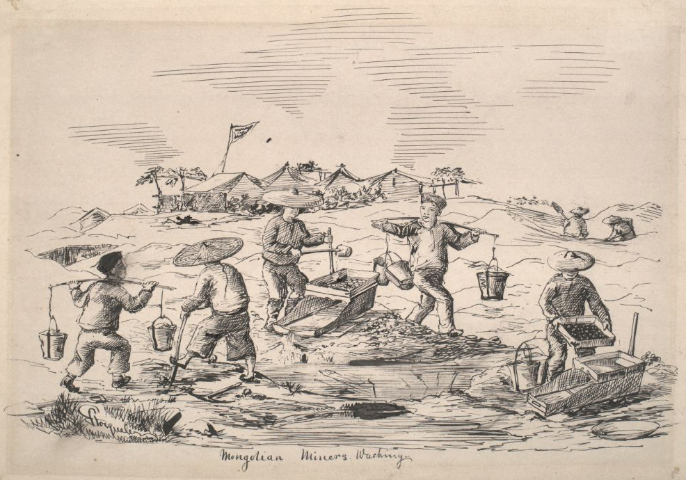 Chinese miners in California (Robert B. Honeyman, Jr. Collection of Early Californian and Western American Pictorial Material, UC Berkeley, Bancroft Library,http://cdn.calisphere.org/data/13030/pj/hb6k4004pj/files/hb6k4004pj-FID3.jpg)